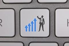 Homem de negócios Success Graph Moving acima Fotografia de Stock