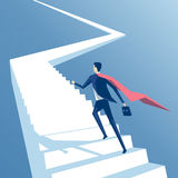 Homem de negócios super e escadas ilustração stock
