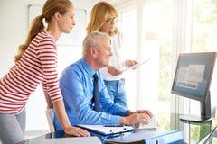 Homem de negócios superior que senta-se na frente do computador com sua equipe teamwork imagens de stock royalty free