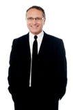 Homem de negócios superior sobre o branco fotografia de stock royalty free
