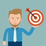 Homem de negócios Target dos desenhos animados Fotos de Stock
