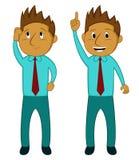 Homem de negócios Thinking e obtenção de desenhos animados da ideia ilustração do vetor