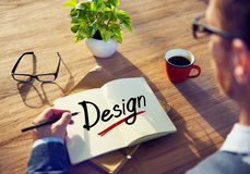 Homem de negócios Thinking sobre conceitos de projeto Fotografia de Stock