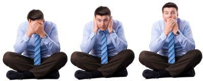 Homem de negócios três sábio que não ouviram, para falar e ver. foto de stock royalty free
