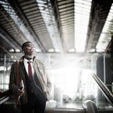Homem de negócios Travel Commuter Concept do journalista fotografia de stock royalty free