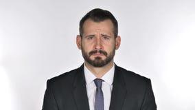Homem de negócios triste de grito Feeling Upset da barba, rasgos vídeos de arquivo
