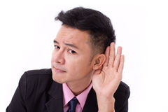 Homem de negócios triste, negativo, forçado que escuta más notícias Imagens de Stock