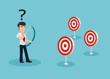 Homem de negócios Unfocused confundido por objetivos múltiplos Imagem de Stock