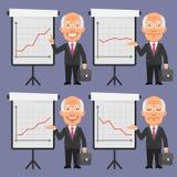 Homem de negócios velho em pontos do terno a Flip Chart Imagem de Stock Royalty Free