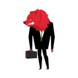 Homem de negócios vermelho do urso Jogador na bolsa de valores com ursos ele Imagens de Stock
