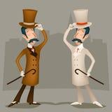 Homem de negócios vitoriano Cartoon Character de Grâ Bretanha do vintage do cavalheiro ilustração royalty free