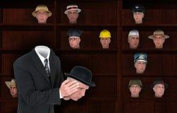 Homem de negócios Wearing Many Hats, vendas fotografia de stock