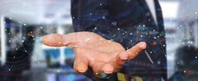 Homem de neg?cios que usa conex?es de rede digital de flutua??o com os pontos e as linhas rendi??o de 3D ilustração do vetor