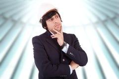 Homem de negócio completamente dos pensamentos Imagens de Stock Royalty Free