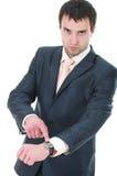 Homem de negócio da raiva com maquinismo de relojoaria Imagens de Stock Royalty Free