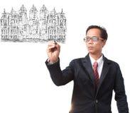 Homem de negócio e gestão da terra Fotos de Stock