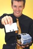 Homem de negócio e Rolodex Fotos de Stock Royalty Free