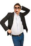 Homem de negócio engraçado com máscara Fotografia de Stock