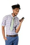 Homem de negócios afro-americano Using Cell Phone Fotografia de Stock Royalty Free