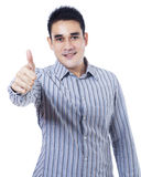 Homem de negócios asiático que mostra o polegar acima Foto de Stock Royalty Free
