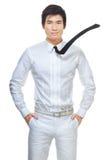 Homem de negócios chinês esperto, considerável no branco Imagens de Stock Royalty Free