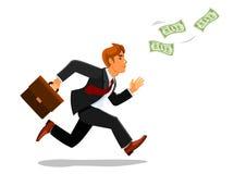 Homem de negócios com dinheiro da perseguição da mala de viagem Fotos de Stock