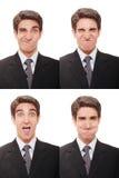 Homem de negócios com expressões múltiplas Imagem de Stock Royalty Free