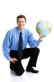 Homem de negócios com globo Fotos de Stock
