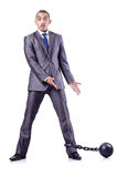 Homem de negócios com grilhões Fotografia de Stock