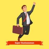 Homem de negócios com mala de viagem que comemora seu sucesso Imagens de Stock Royalty Free