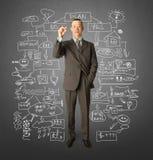 Homem de negócios com marcador Imagem de Stock Royalty Free