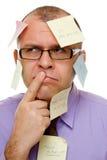 Homem de negócios com notas pegajosas Imagens de Stock Royalty Free