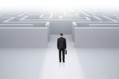 Homem de negócios com o caso que está na frente do labirinto Imagem de Stock Royalty Free