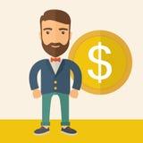 Homem de negócios com sinal de dólar Imagem de Stock Royalty Free