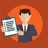Homem de negócios com uma tarefa, mostrando a tarefa e analítico Fotos de Stock Royalty Free