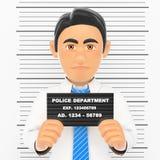 homem de negócios 3D prendido Foto branca da polícia criminosa do colar Imagem de Stock Royalty Free