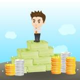 Homem de negócios da ilustração dos desenhos animados rico Fotos de Stock Royalty Free