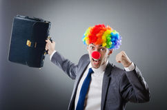 Homem de negócios do palhaço no conceito do negócio Fotografia de Stock Royalty Free