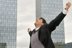 Homem de negócios do vencedor que grita da alegria Imagens de Stock