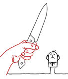 Homem de negócios dos desenhos animados - faca e perigo Imagem de Stock Royalty Free