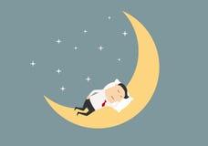 Homem de negócios dos desenhos animados que dorme na lua Imagem de Stock