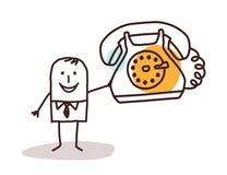Homem de negócios dos desenhos animados que guarda um telefone do vintage Imagem de Stock