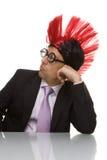 Homem de negócios engraçado com uma face furada Fotos de Stock Royalty Free