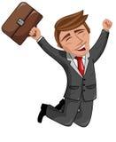 Homem de negócios feliz dos desenhos animados Fotos de Stock