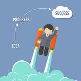 Homem de negócios Flying On Rocket To Success Fotografia de Stock Royalty Free