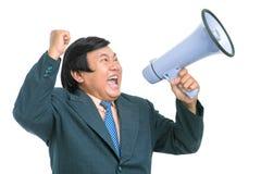 Homem de negócios gritando Imagens de Stock Royalty Free
