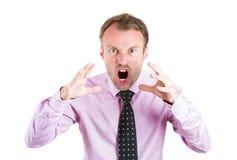 Homem de negócios irritado, gritando, chefe, executivo, trabalhador, empregado que atravessa um conflito em sua vida Fotos de Stock