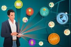 Homem de negócios Looking na tecnologia do Internet Imagens de Stock Royalty Free