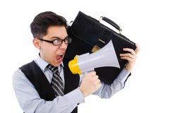 Homem de negócios novo com altifalante Imagem de Stock Royalty Free