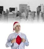Homem de negócios novo no estilo do Natal Fotos de Stock Royalty Free